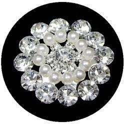Strassknopf mit Perlen Artemis silber 3,5cm