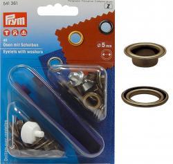 PRYM Ösen mit Scheiben 5mm altmessing