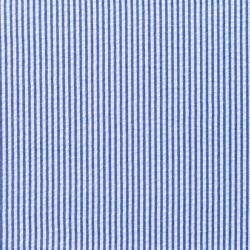 Baumwoll Stoff Seersucker Streifen Uni Kobaltblau