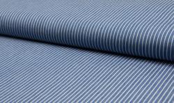 Leichter Hemden Jeans Stoff Jacquard streifen 5mm hellblau