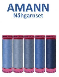 AMANN 5er Nähgarn Set Jeansblau Farbtöne Allesnäher