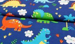 Bedruckter Baumwoll Canvas Meterware Stoff Dinosaurier