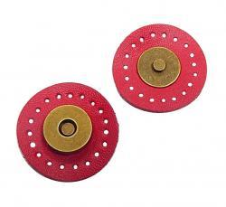 1 Leder Magnet Druckknopf Magnetknopf rot