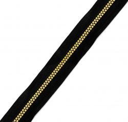 QUBE-MIRROR Endlos Reißverschluss - Meterware schwarz-gold