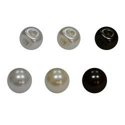 Perlenknopf 8mm schwarz, weiss, creme