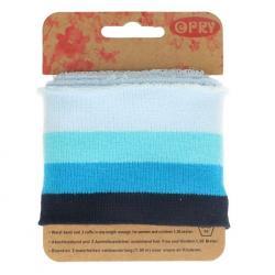 Cuff Opry - Fertigbündchen Streifen blautöne 100cm