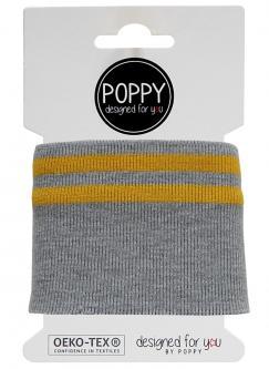 Cuff Poppy - Fertigbündchen College 2 - Streifen grau - gelb