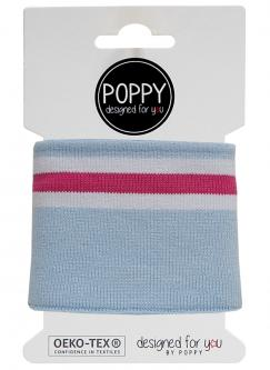 Cuff Poppy - Fertigbündchen Multi College Streifen hellblau
