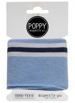 Cuff Poppy - Fertigbündchen College Streifen blau melange 1021