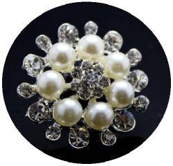 Exclusiv Perlen Strassknopf silber Belek 32mm