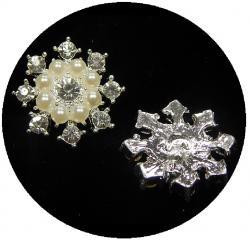 Exclusiv Perlen Strassknopf silber Omega 23mm