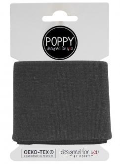 Cuff Poppy - Fertigbündchen Uni - dunkelgrau melange