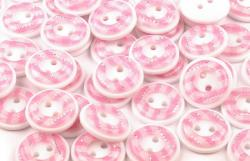 Kunststoff Hemdenknopf vichy Karo rosa 13mm