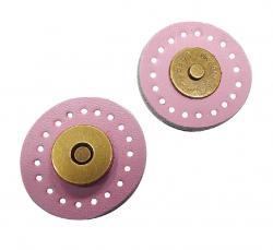 1 Leder Magnet Druckknopf Magnetknopf rosa
