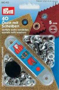 PRYM Ösen mit Scheiben 5mm silber
