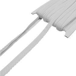 Elastisches Einfassband mit Bogenkante - weiss