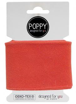 Cuff Poppy - Fertigbündchen Uni - coralle 813 - lachsrot