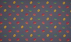 Baumwoll Jersey Stoff Druck grau mit bunten Donuts