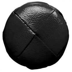 Lederknopf rund Schwarz 20mm echt Leder