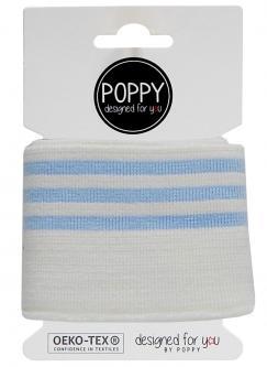 Cuff Poppy - Fertigbündchen College 3 - Streifen ecrú hellblau