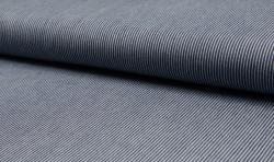 Leichter Hemden Jeans Stoff Jacquard streifen 2mm dunkelblau