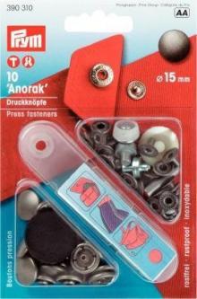 PRYM Anorak Druckknöpfe 15 mm alteisen
