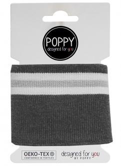 Cuff Poppy - Fertigbündchen College Streifen dunkelgrau weiss