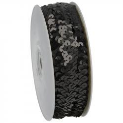 Paillettenband elastisch schwarz 30mm breit