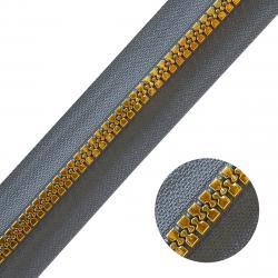 DELRIN Metallisierter Reißverschluss Meterware endlos grau gold grau-gold