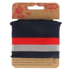 Cuff Opry - Fertigbündchen Streifen schwarz rot grau 100cm