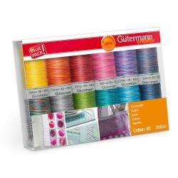 NEW - Gütermann Stickgarn Set Cotton 30 Multicolor 12 Rollen