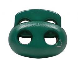 Kordelstopper Oval 2-Loch / flaschengrün