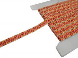 Webband mit Eulen / Eulenband 15mm orange pink