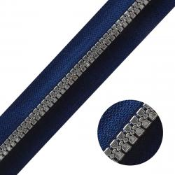 DELRIN Metallisierter Reißverschluss Meterware endlos dunkelblau silber dunkelblau-silber