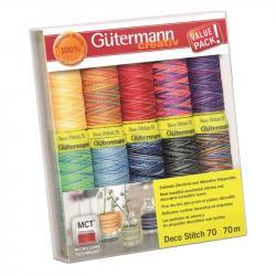 Gütermann Deco Stitch Nähfaden - Nähgarn Set - 10 Farben á 70 m