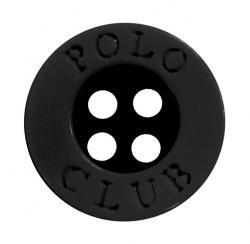 Kunststoff Polo Club Hemdenknopf schwarz 11mm