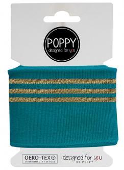 Cuff Poppy - Fertigbündchen College Lurex Streifen petrol gold