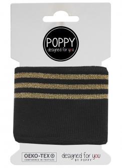 Cuff Poppy - Fertigbündchen College Lurex Streifen schwarz gold