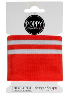 Cuff Poppy - Fertigbündchen College Streifen rot weiss