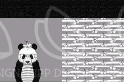 Baumwoll Jersey PANEL Stoff Panda Bär grau