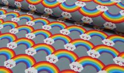 Baumwoll Jersey Stoff Bedruckt - Regenbogen - grau bunt