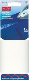 PRYM Saumvlies mit Trägerpapier zum Einbügeln 75 mm weiß