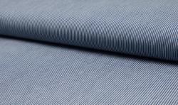 Leichter Hemden Jeans Stoff Jacquard streifen 2mm mittelblau