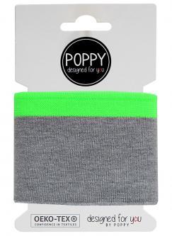 Cuff Poppy - Fertigbündchen College grau - neongrün