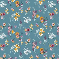 Beschichtete Baumwoll Stoff Blumenwiese - blau