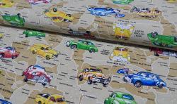 Bedruckter Baumwoll Canvas Meterware Stoff Oldtimer Autos