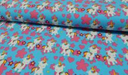 Baumwoll Jersey Stoff bedruckt - kleine Einhörner - blau rosa