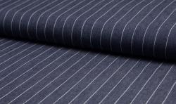 Leichter Hemden Jeans Stoff Jacquard streifen 15mm dunkelblau