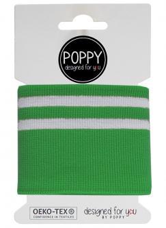 Cuff Poppy - Fertigbündchen College Streifen grün weiss