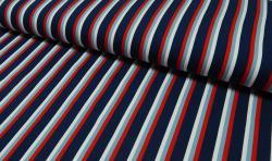 Baumwoll Jersey Stoff bedruckt - Streifen Maritim blau weiss rot